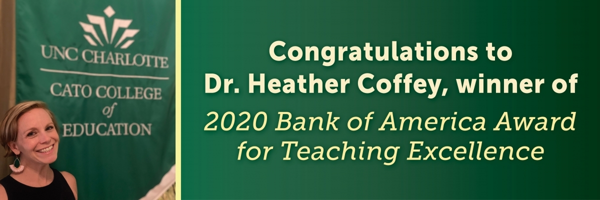 Professor Heather Coffey wins Bank of America Award for Teaching Excellenc3